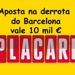 Aposta na vitória do Alavés ao intervalo frente ao Barcelona vale 10 mil euros no Placard