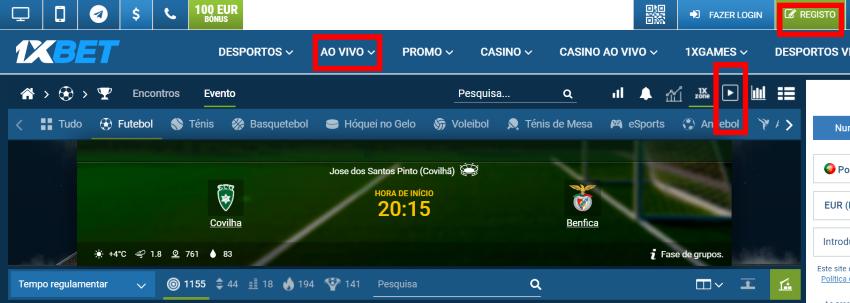 Covilhã Benfica online grátis - Vê o jogo em qualquer dispositivo móvel
