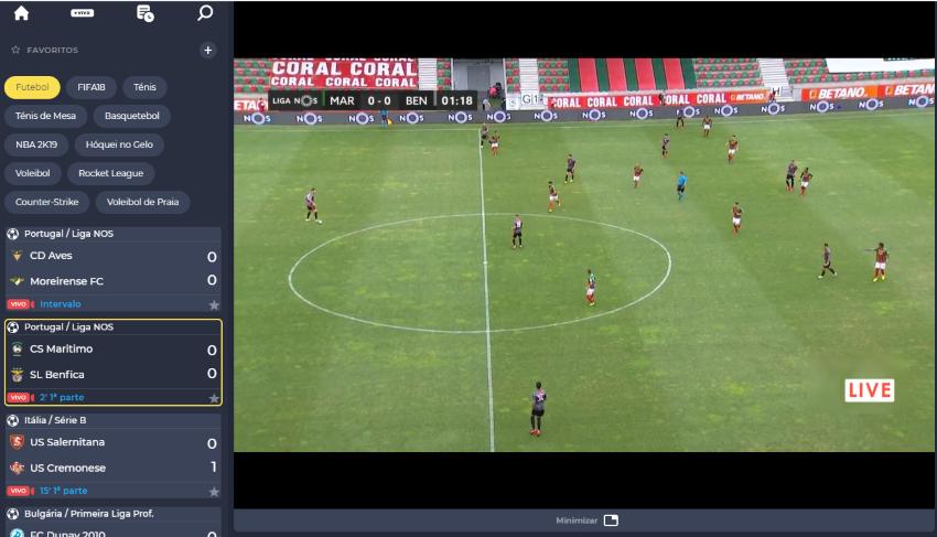 Marítimo Benfica online grátis - Vê o jogo em qualquer dispositivo móvel