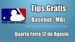 Prognósticos para Apostas MLB - Grátis - Quarta Feira 12 de Agosto