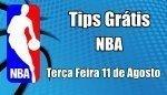Prognósticos para Apostas NBA - Grátis - Terça Feira 11 de Agosto