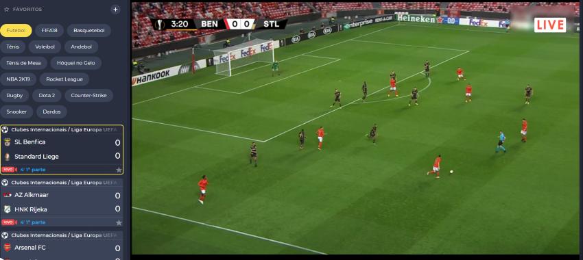 Benfica Liege Online grátis. Assiste nos dispositivos móveis