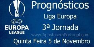 Prognósticos para a Liga Europa - 3ª Jornada - Quinta Feira 5 de Novembro