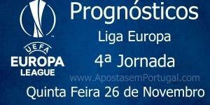 Prognósticos para a Liga Europa - 4ª Jornada - Quinta Feira 26 de Novembro
