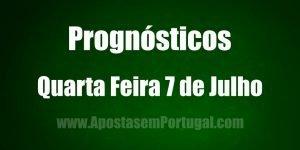 Prognósticos - Quarta Feira 7 de Julho